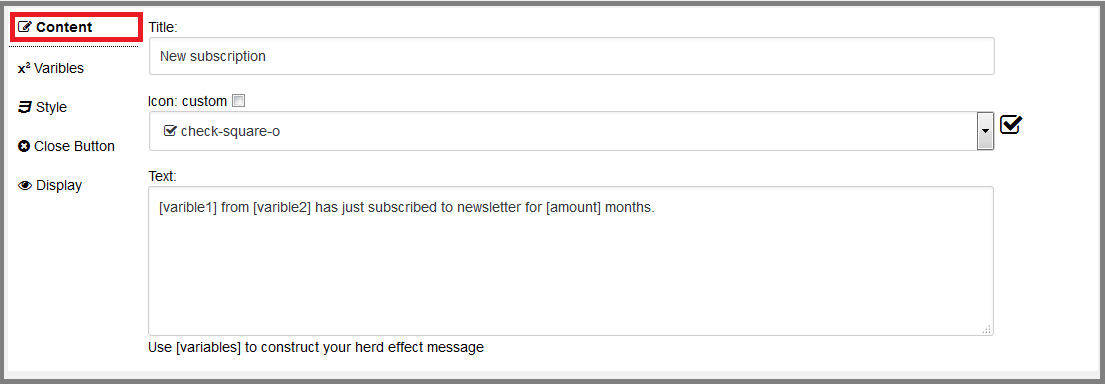 Fig. 2 Options for editing the contents of a pop-up message