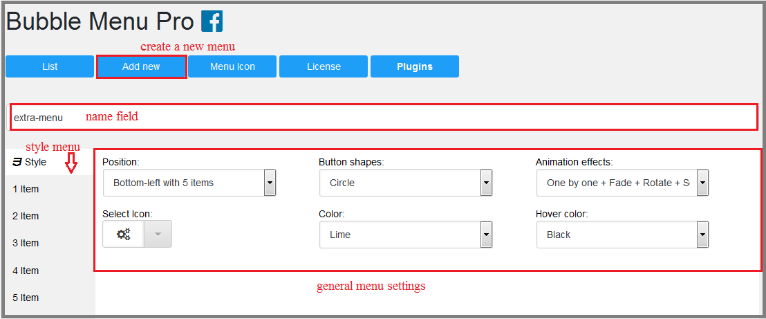 Fig. 1. Create the menu and select basic settings