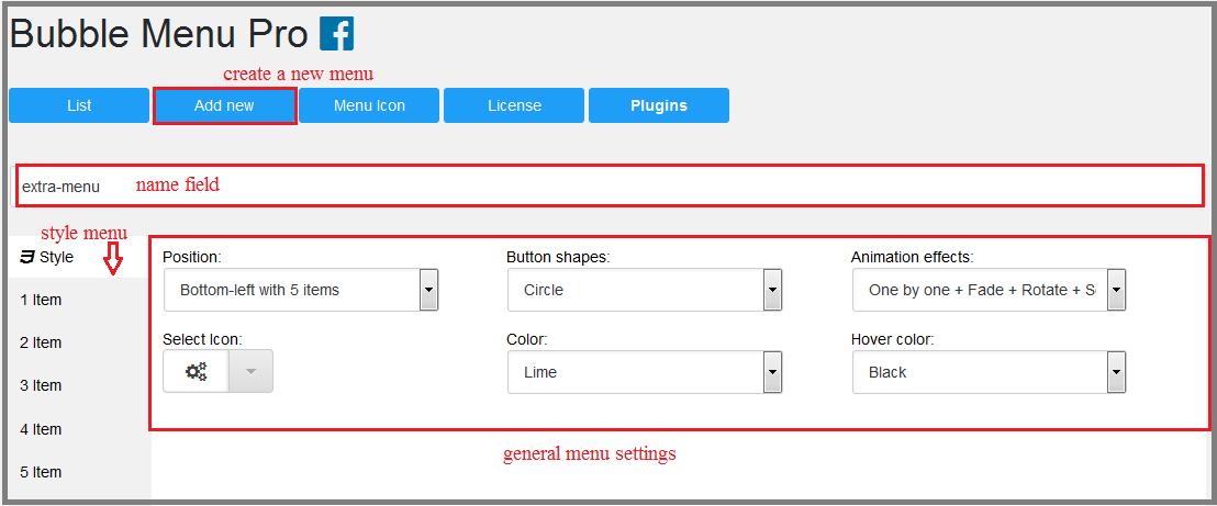 Fig. 1. Create the menu and select basic settings