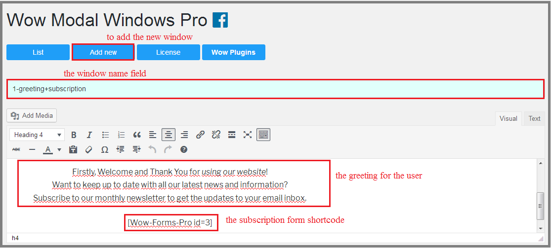 Fig. 1 Creating and filling in the content of the first modal window