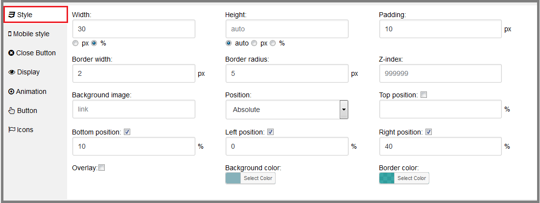Fig. 10. The style settings for the modal window