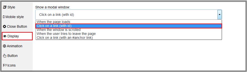Fig. 12. Set the modal window display via the link