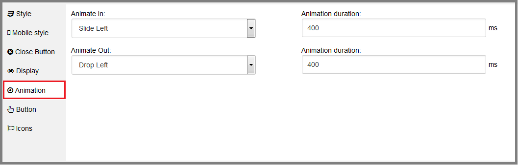 Fig. 13. Select the animation effects for the window