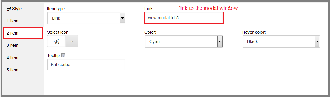 Fig. 17. The menu item with the link to the modal window