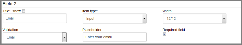 Fig. 5. Set the values for the second field of the subscription form