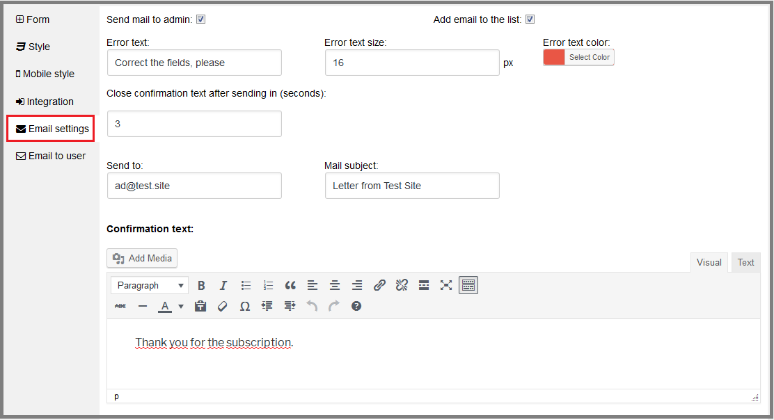 Fig. 7. Email settings