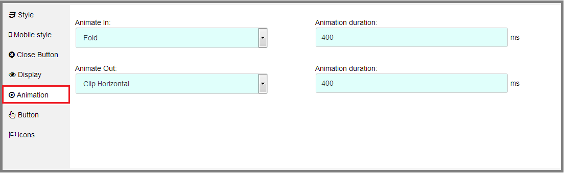 Fig. 7 Options to change the pop-up animation.