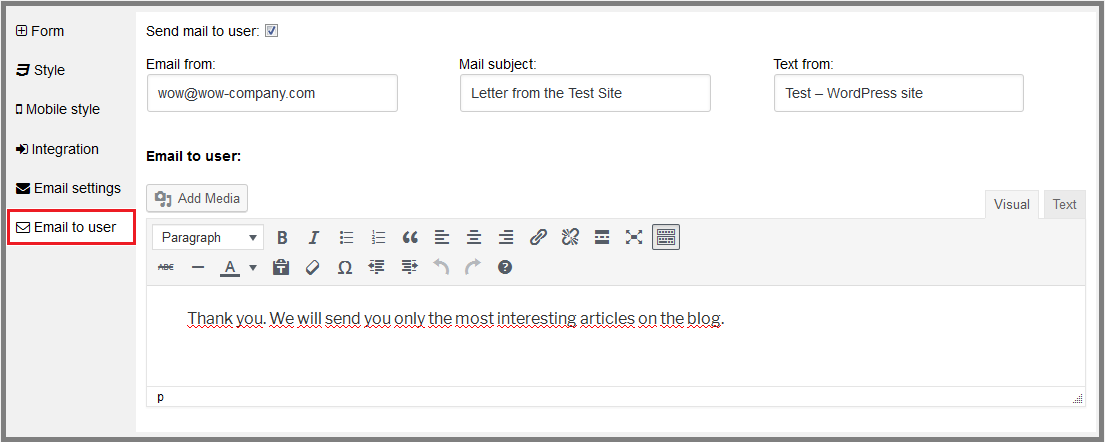 Fig. 8. Compose the confirmation letter to send to the user