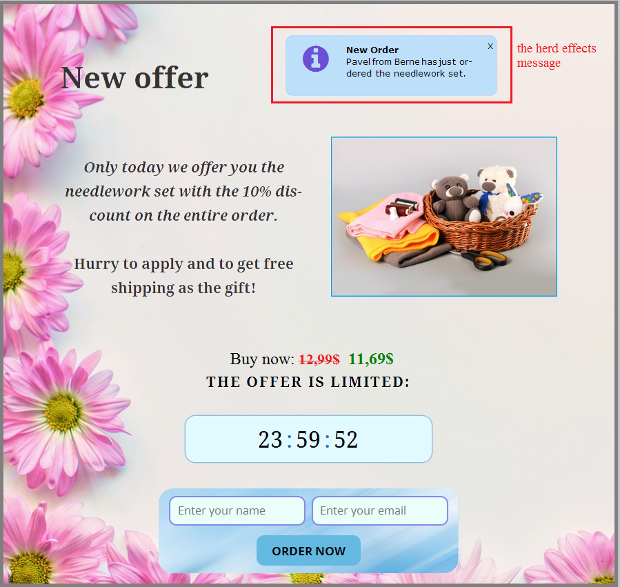 The urgency effect of the offer and the demonstration of user activity on the site
