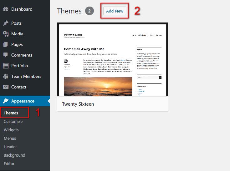 WordPress Theme install - step 1