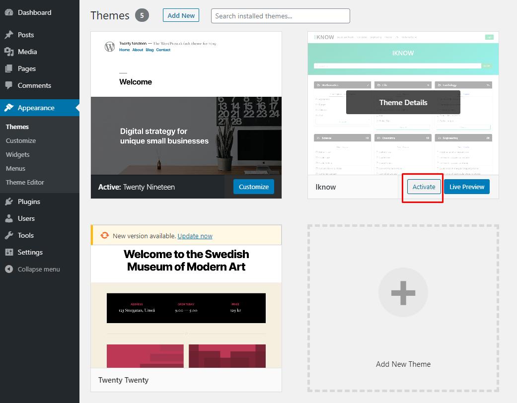 WordPress Theme install - step 4